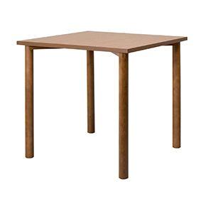 Holztisch, Platte Melamin, runde Massivholzkonsolen