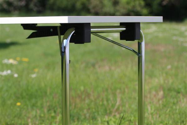 Design Klapptisch Modell DEMUS, Chromgestell, HPL