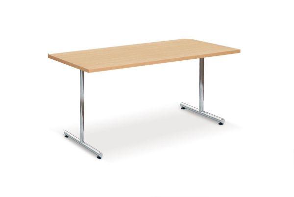 Einsäulenklapptisch Modell , Chromgestell, HPL-Tischplatte