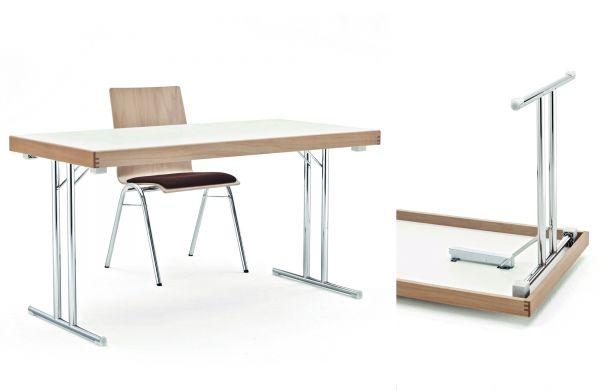 Klapptisch Modell MEN, HPL Tischplatte mit Buchenmassivholzr