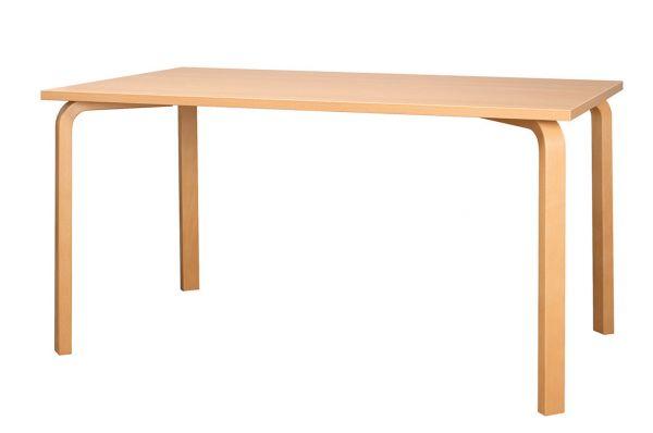 Holztisch, Platte Melamin, mit Schichtholzkonsolen
