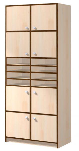 Schließfachschrank mit 8 offenen und 8 geschlossenen Fächern